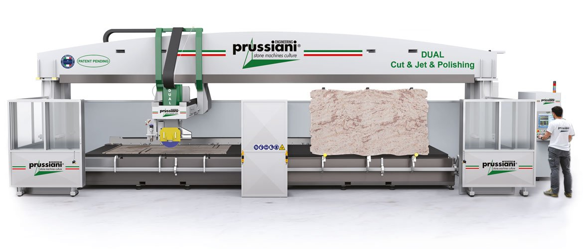 Combined CUT&JET machines with electro-spindle for diamond blades and high pressure waterjet and abrasive