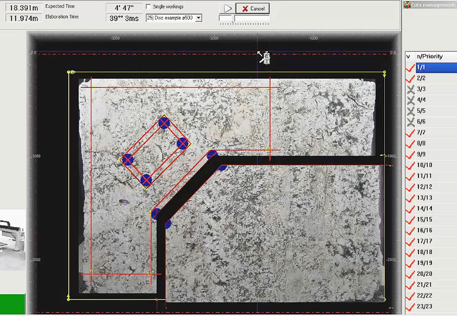 Programming of the pieces to be cut in the slab with CAD-CAM Windows based.