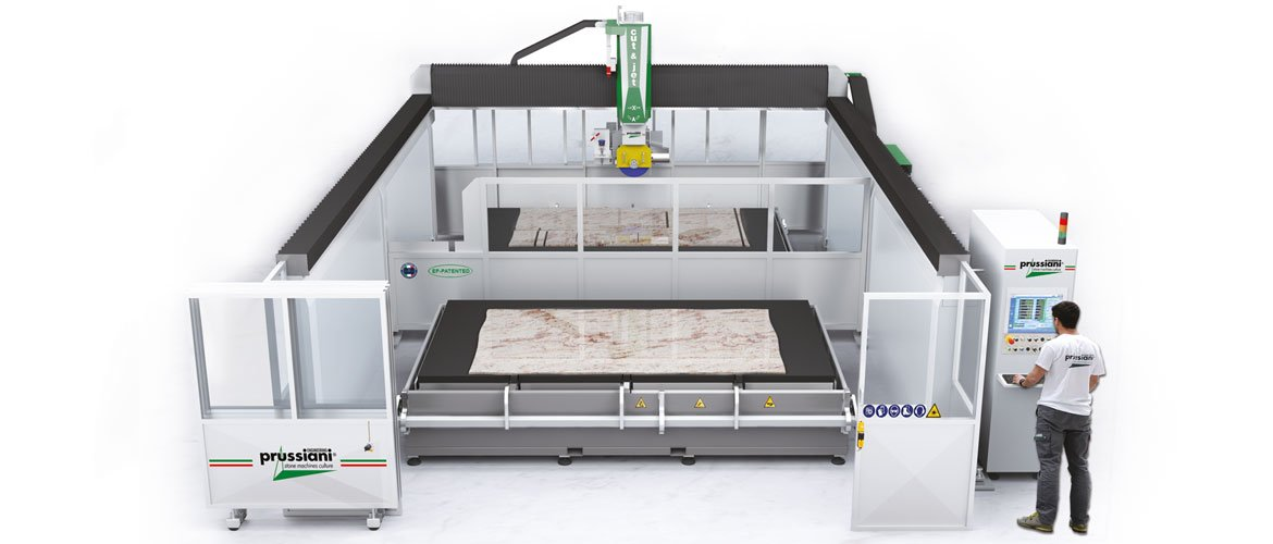 Cut-&-Jet-with-two-tables-for-cutting-marble, granite, natural stone