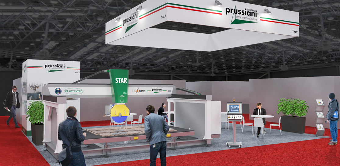 Render of the stand Prussiani for Construmat Barcelona fair